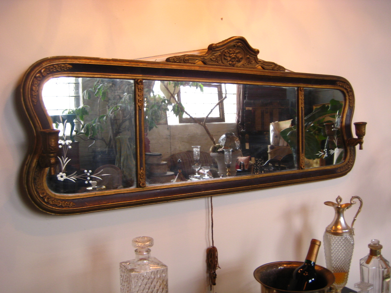 Rare Lovely Large Victorian Parlor Mirror With Etched Glass Adorned Two Candle Sconce Pairs Nicely Our French 75 Bar