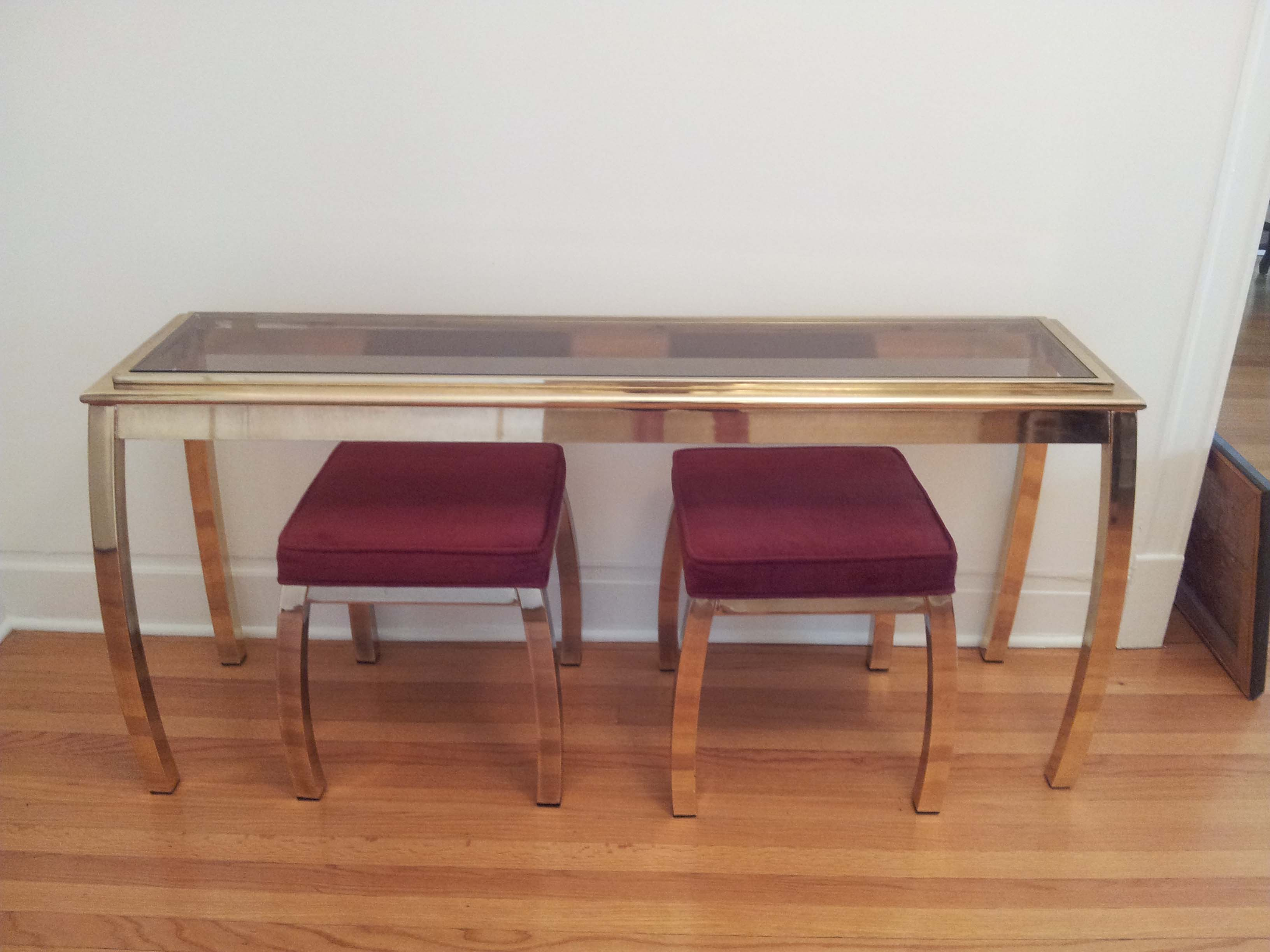 S mastercraft brass console table stools the savoy