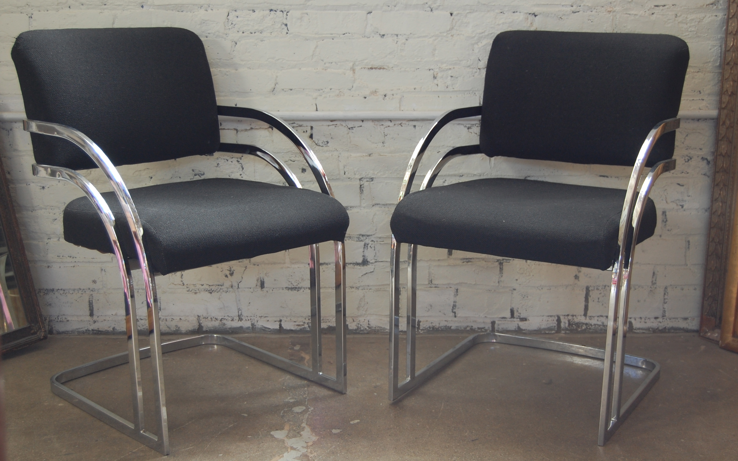 Pair Of Milo Baughman Chrome Arm Chairs The Savoy Flea