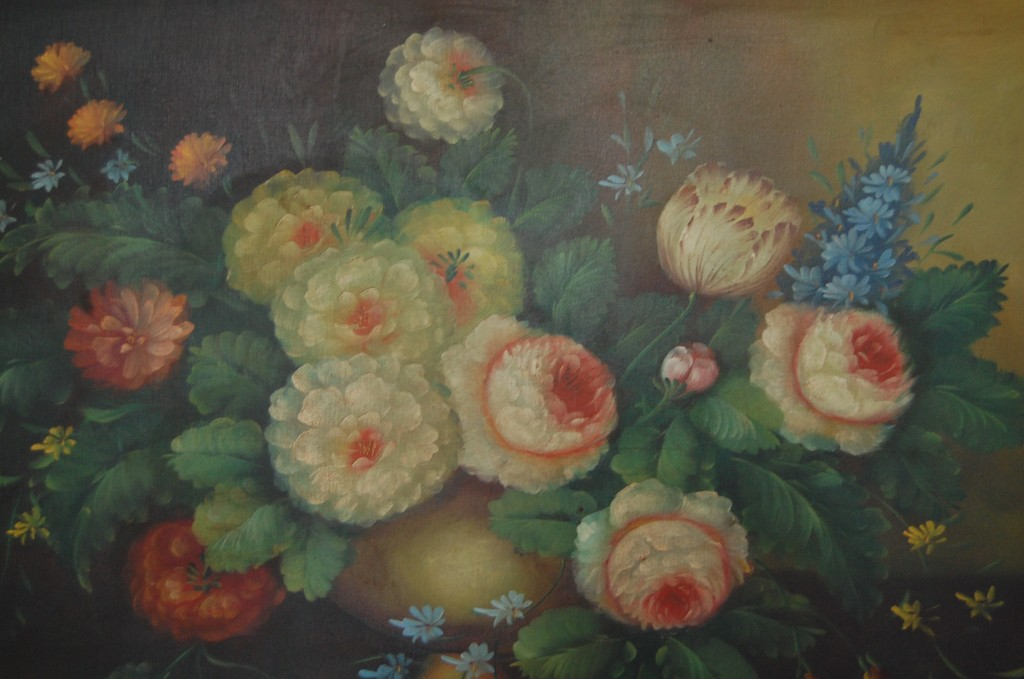 Large Vintage Moody Floral Oil Painting The Savoy Flea