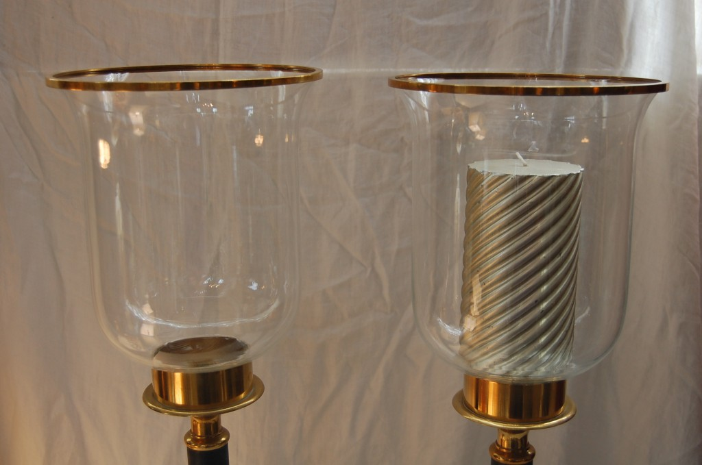 Tall Black Amp Brass Satin Hurricane Candle Holders The