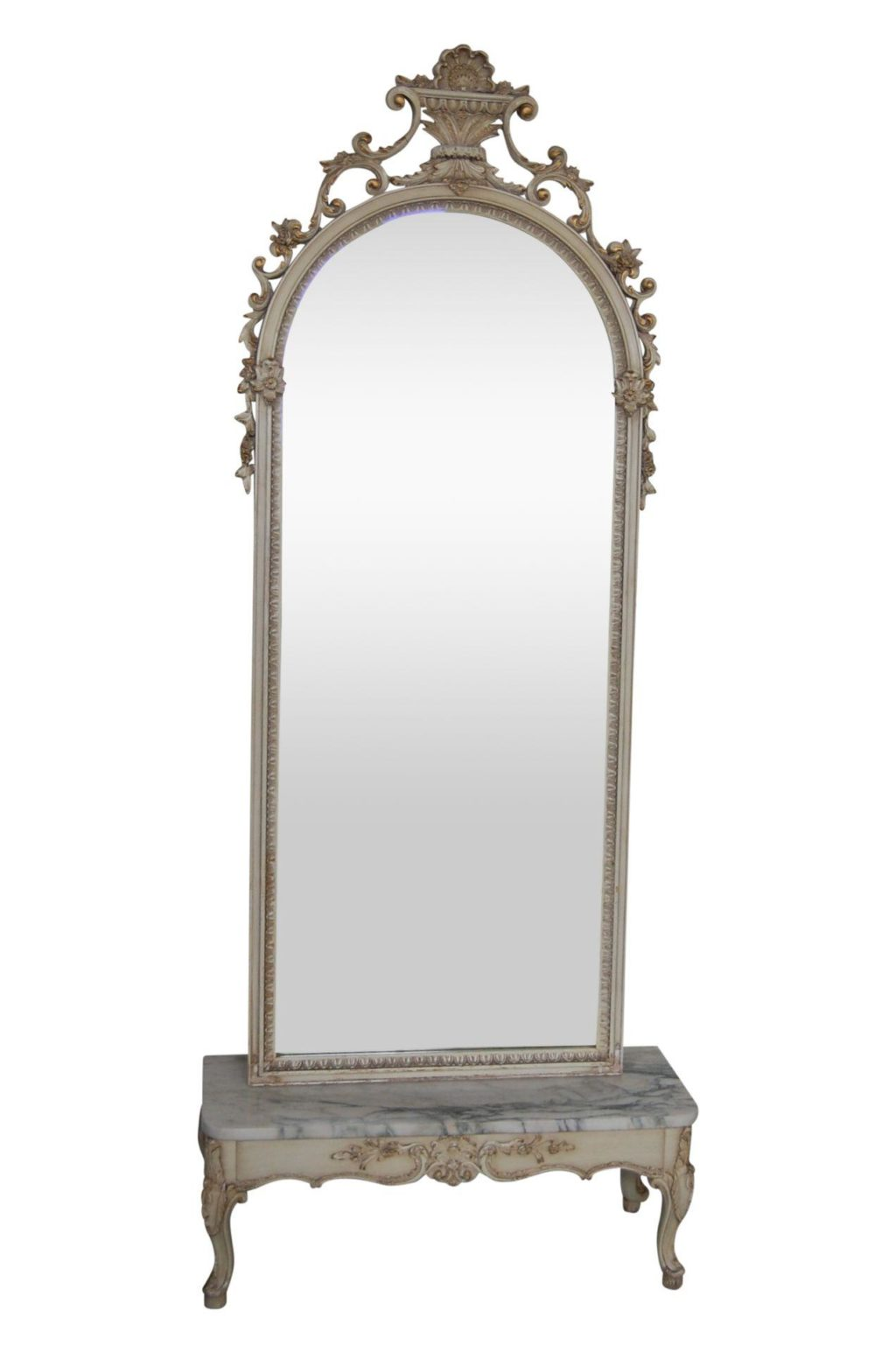 19th C Antique French Pier Ivory Amp Gold Mirror Amp Marble