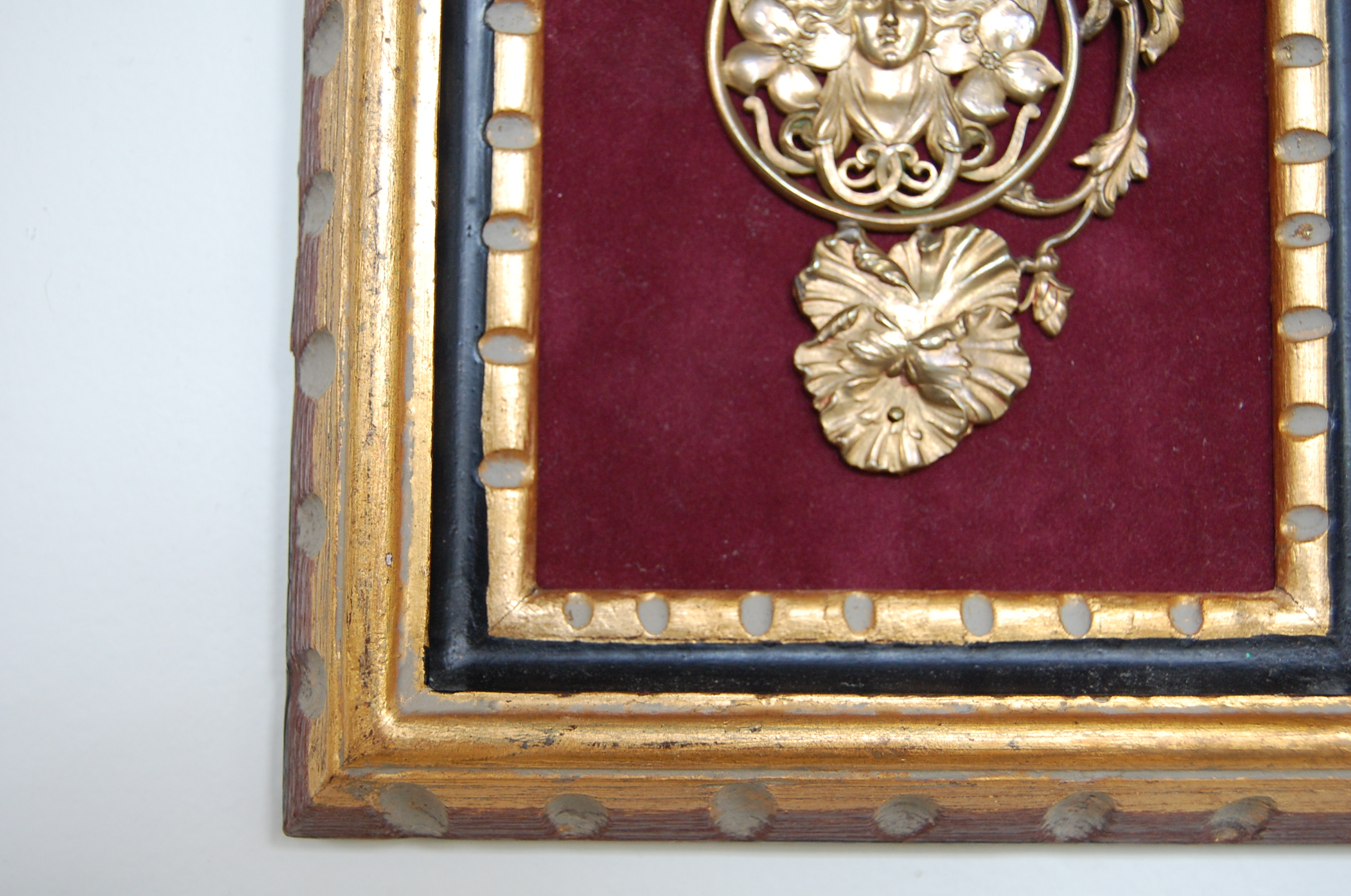 Vintage French Framed Art Nouveau Brass Pendant The