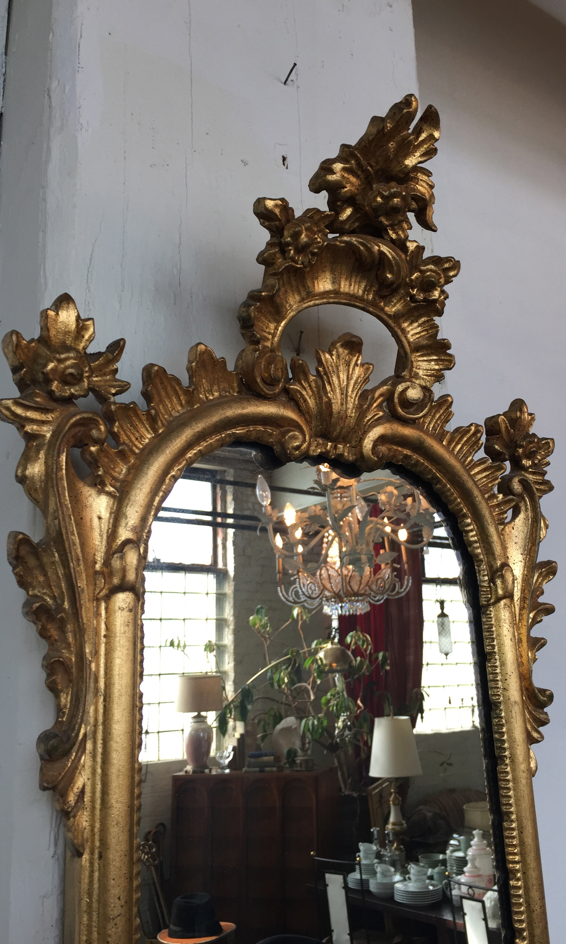 Vintage Italian Rococo Gilt Tall Mirror By La Barge The