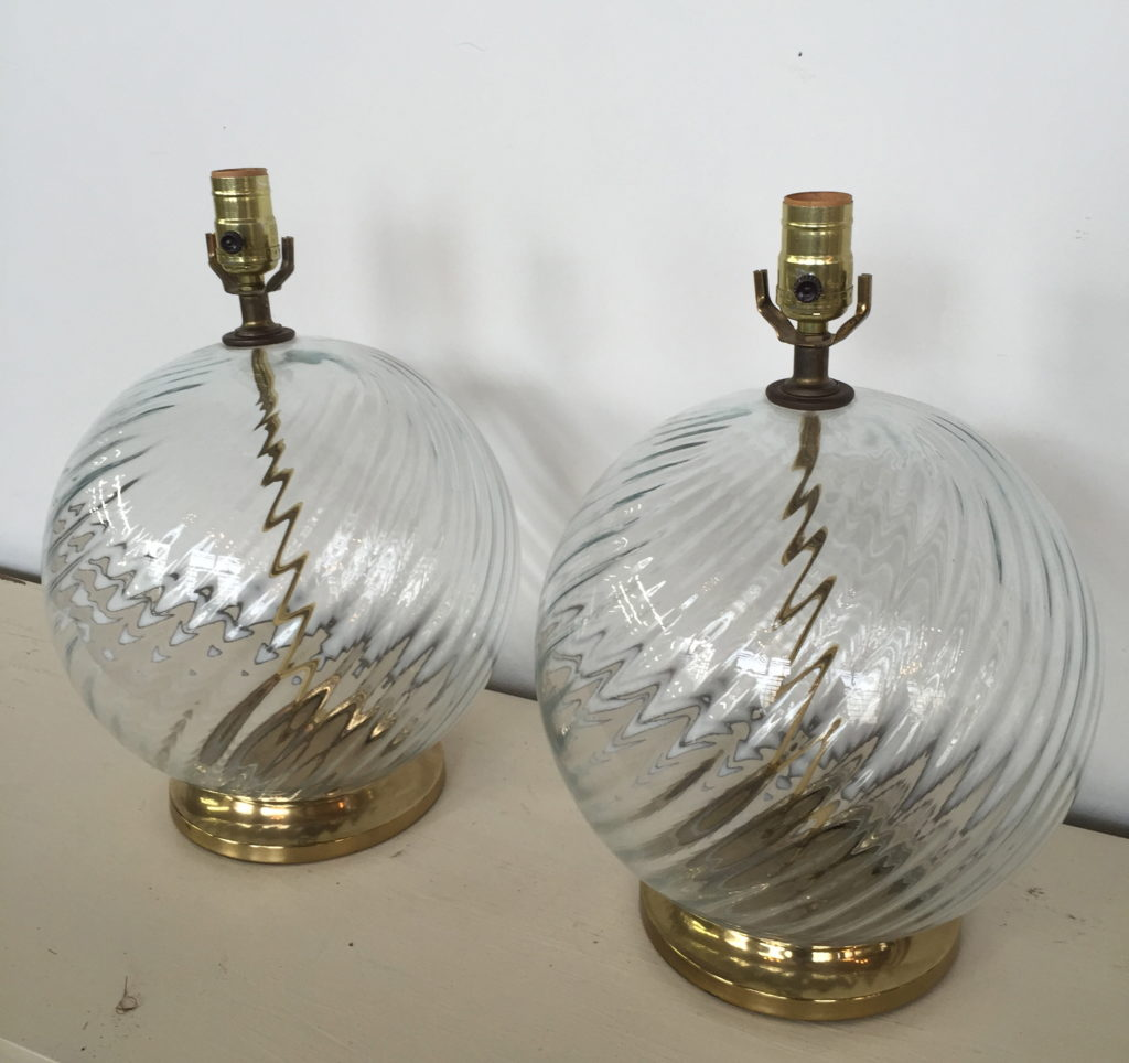 Vintage Glass Globe Modernists Lamps Pair The Savoy Flea