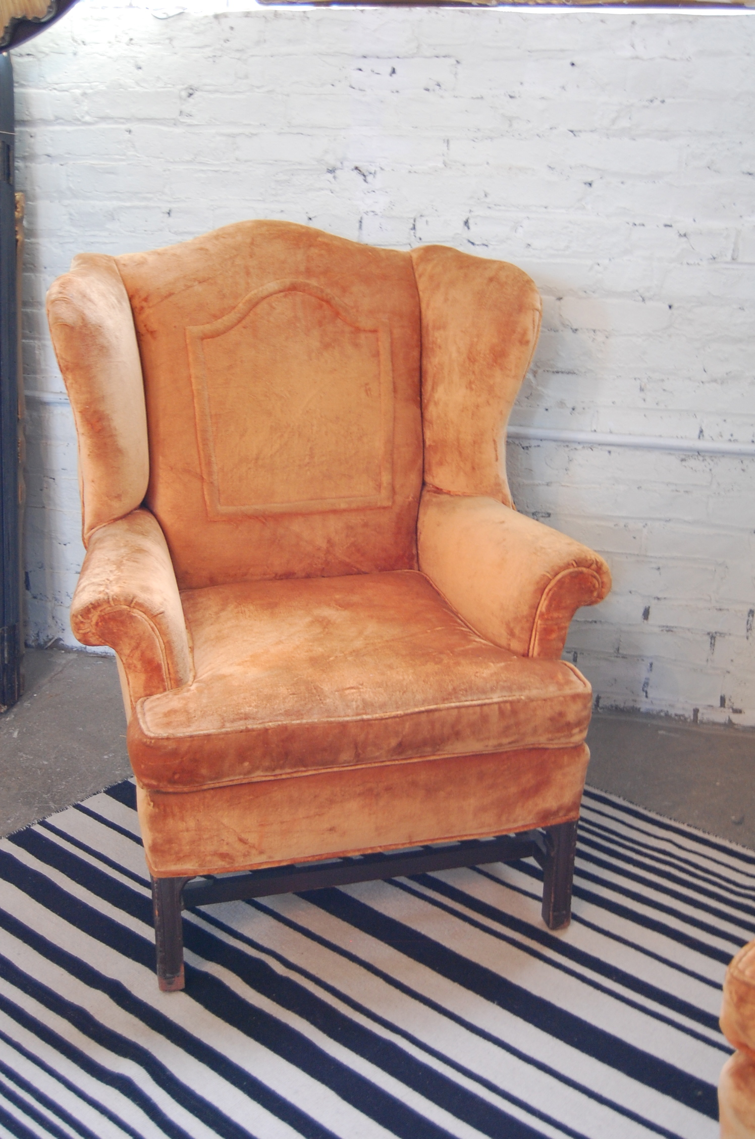 Vintage Orange Velvet Wingback Chair Amp Ottoman The Savoy