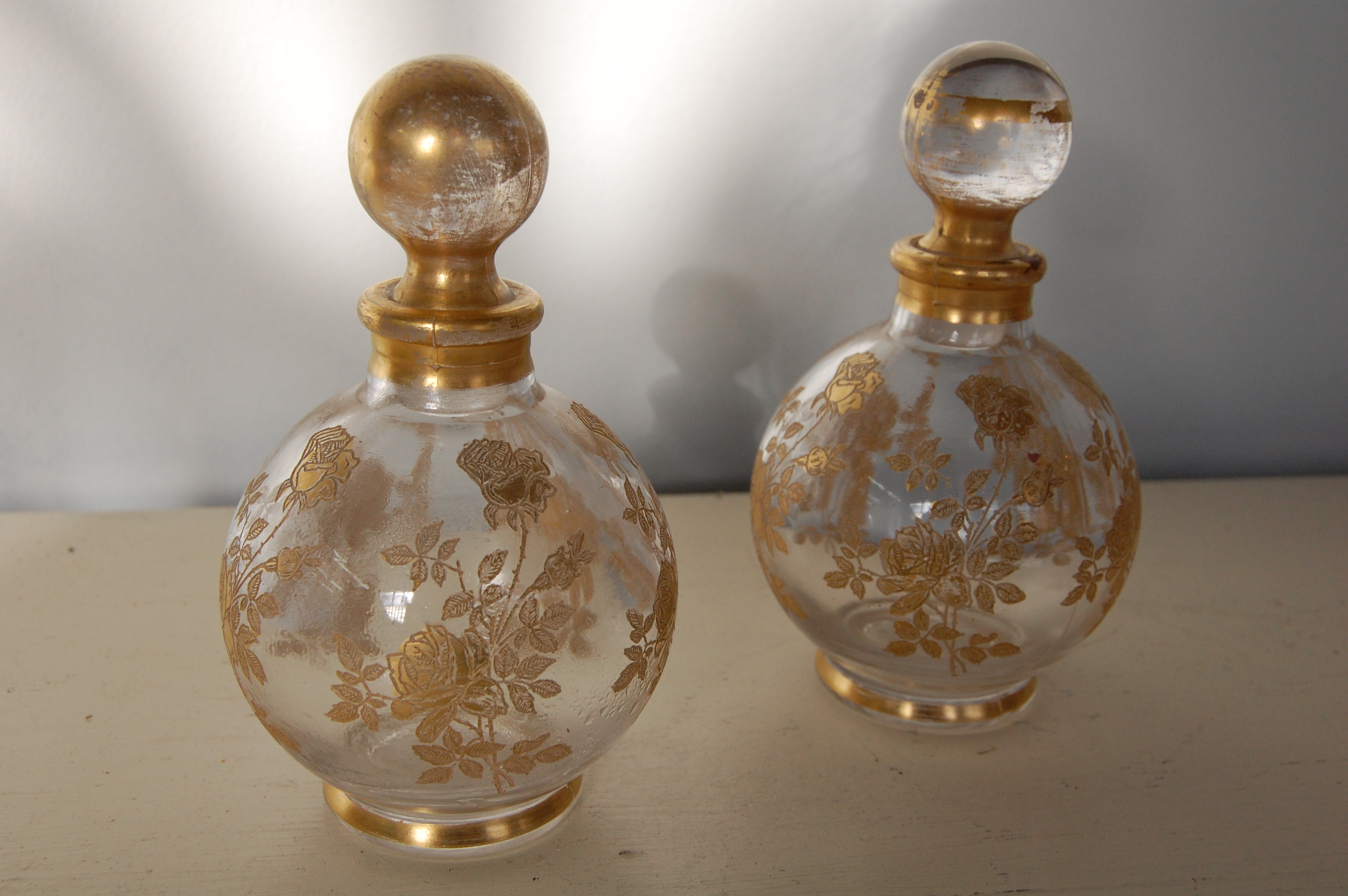 Pair Of Vintage Glass Amp Gold Perfume Bottles The Savoy Flea