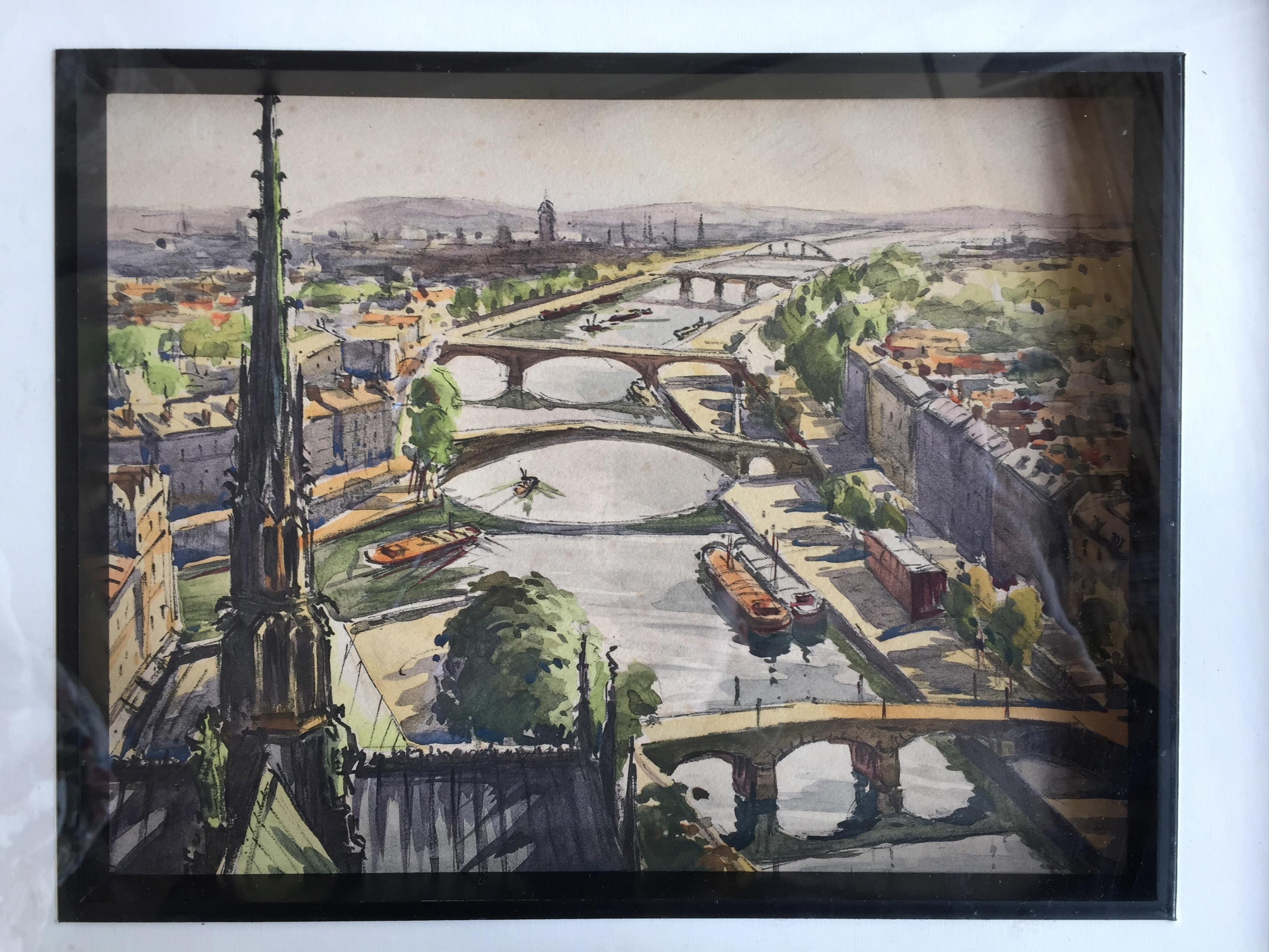 Mid Century Paris Watercolor Painting The Savoy Flea