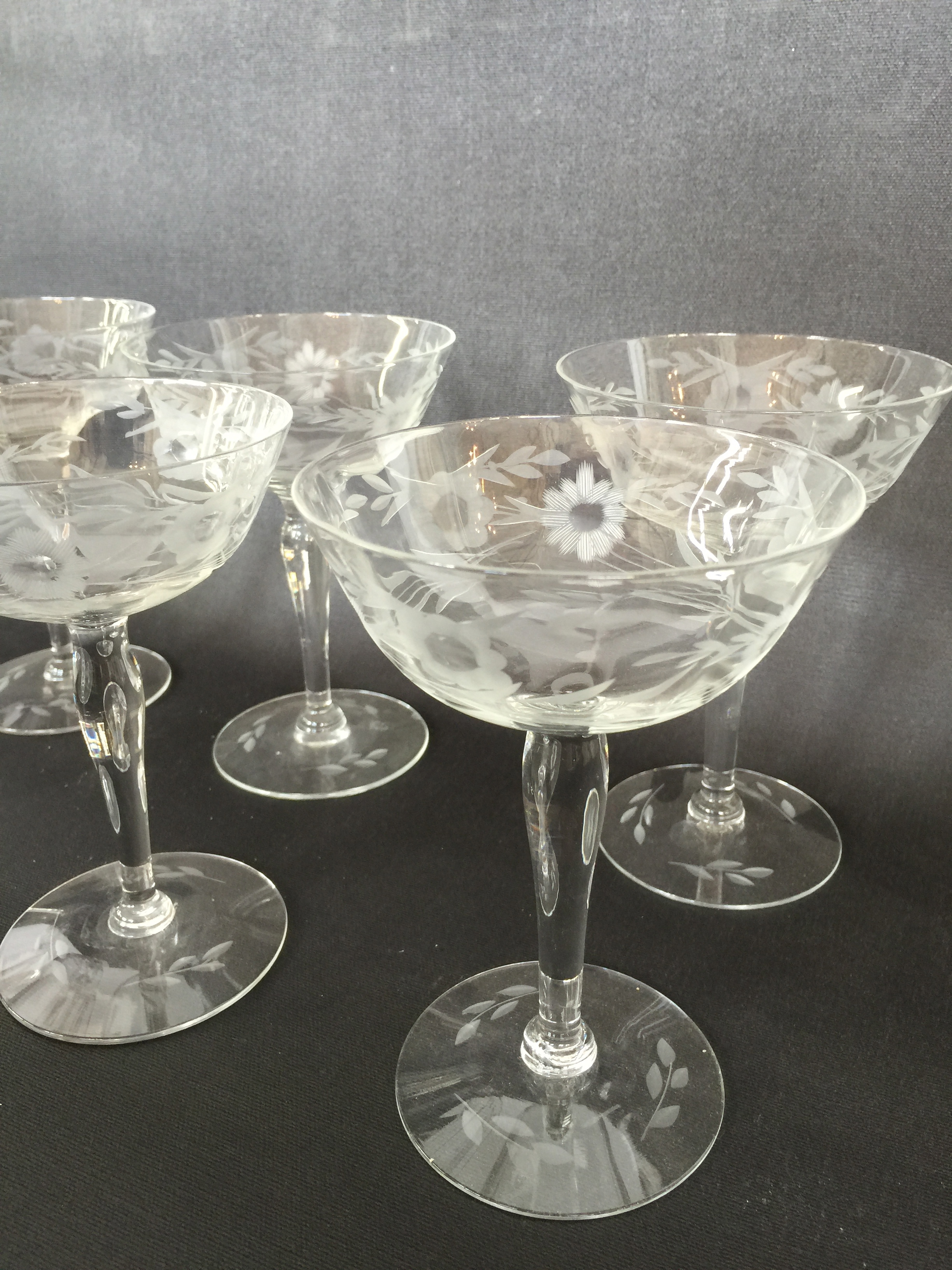 Vintage Etched Champagne Coupes Glasses Set Of 8 The