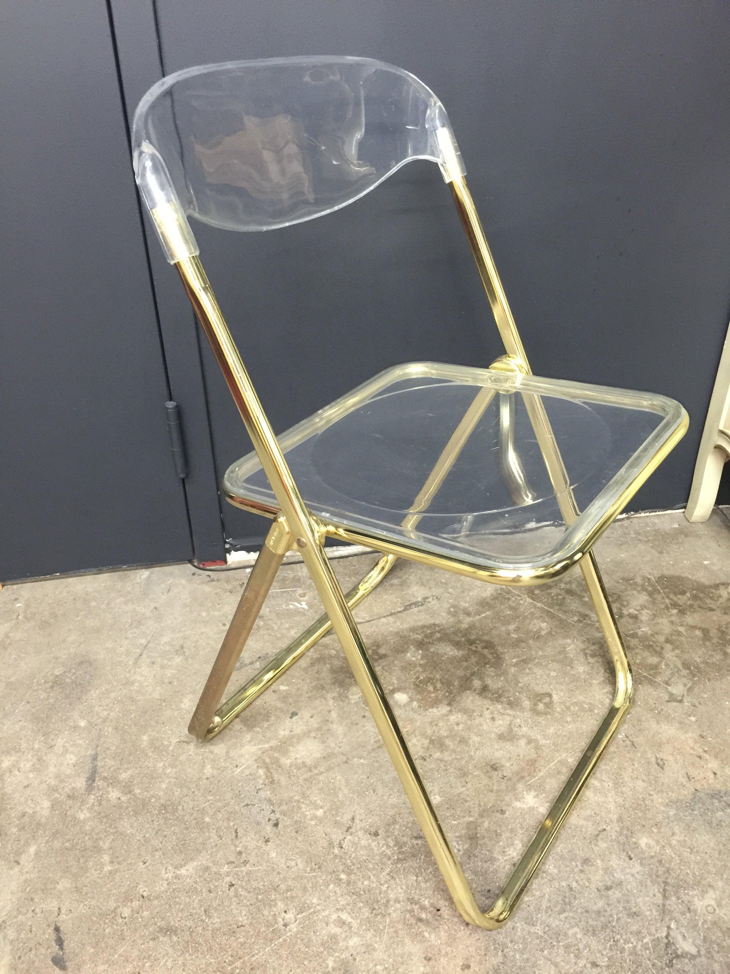 Brevattato Lucite & Gold Folding Chair