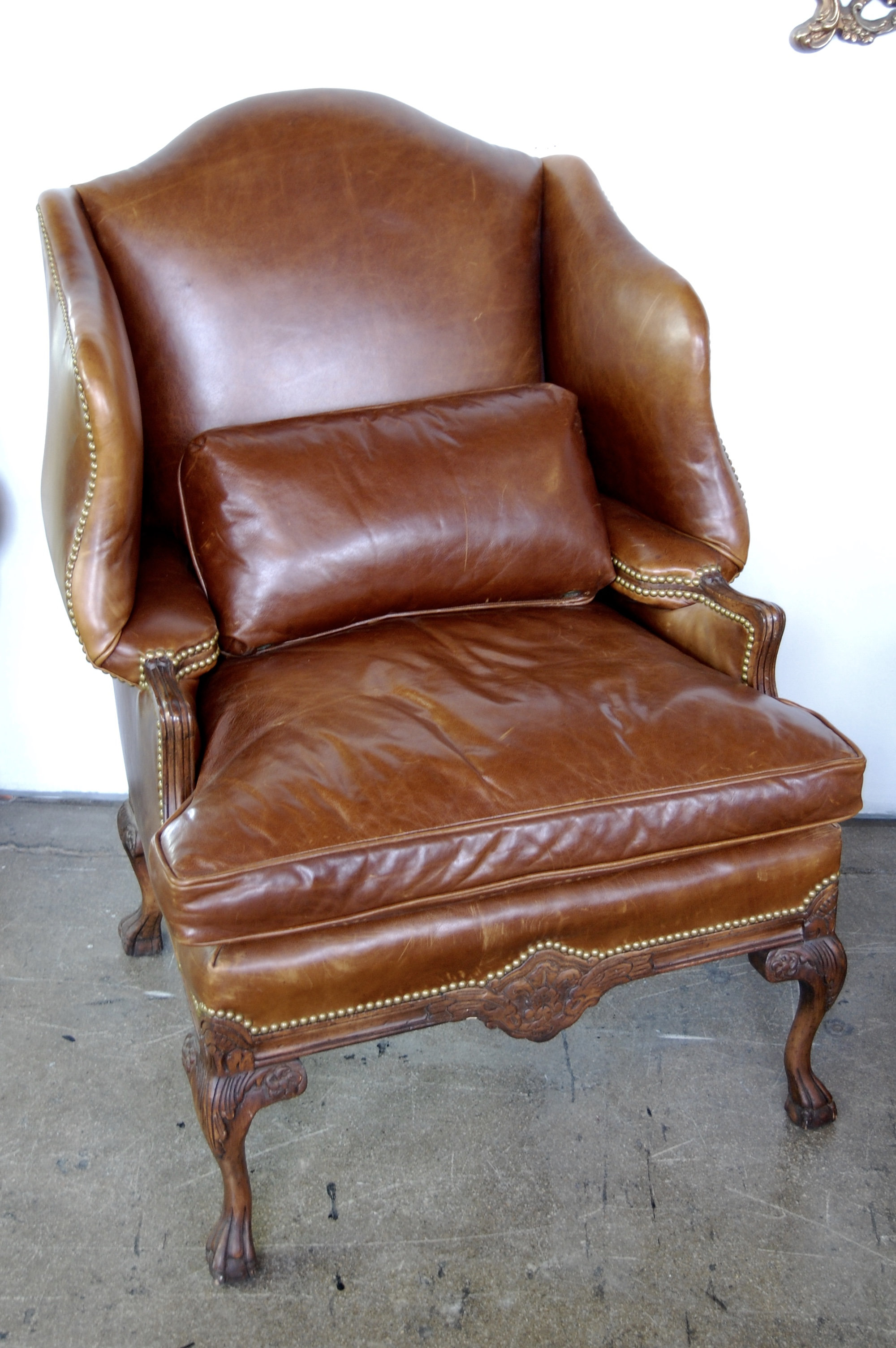 Cognac Leather Wing Chair