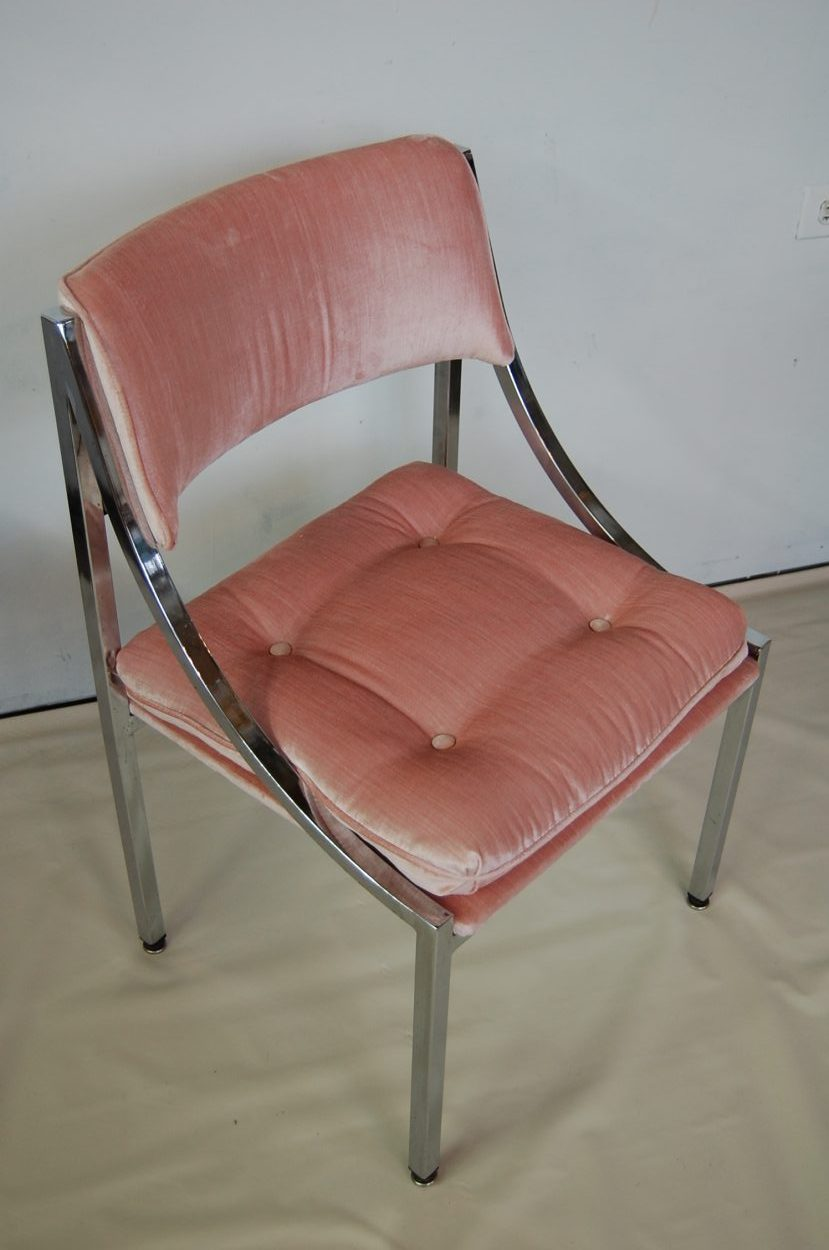 Modernist Chrome Blush Pink Velvet Chair Sold