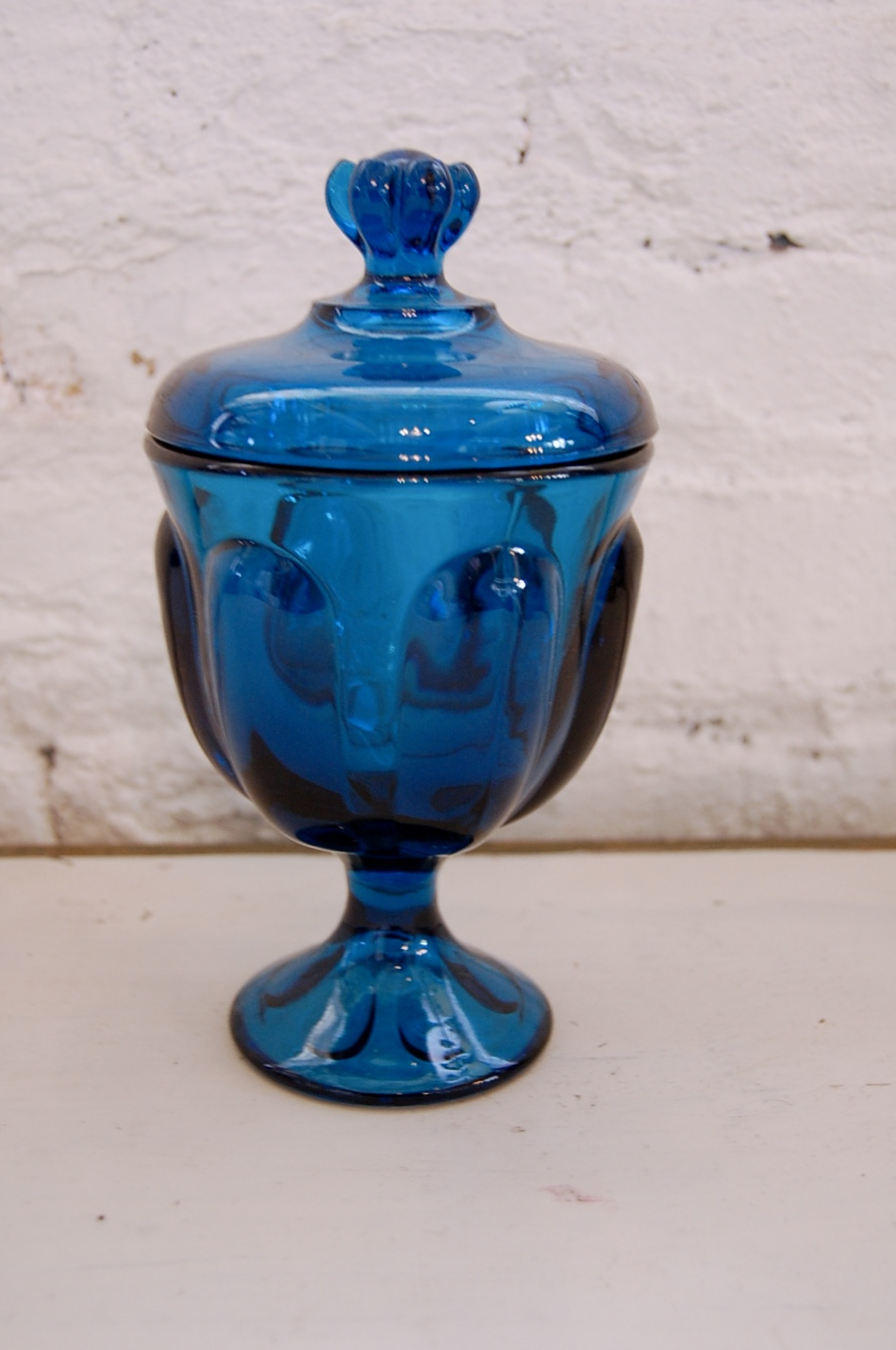 Mid Century Peacock Blue Glass Candy Dish Or Jar The