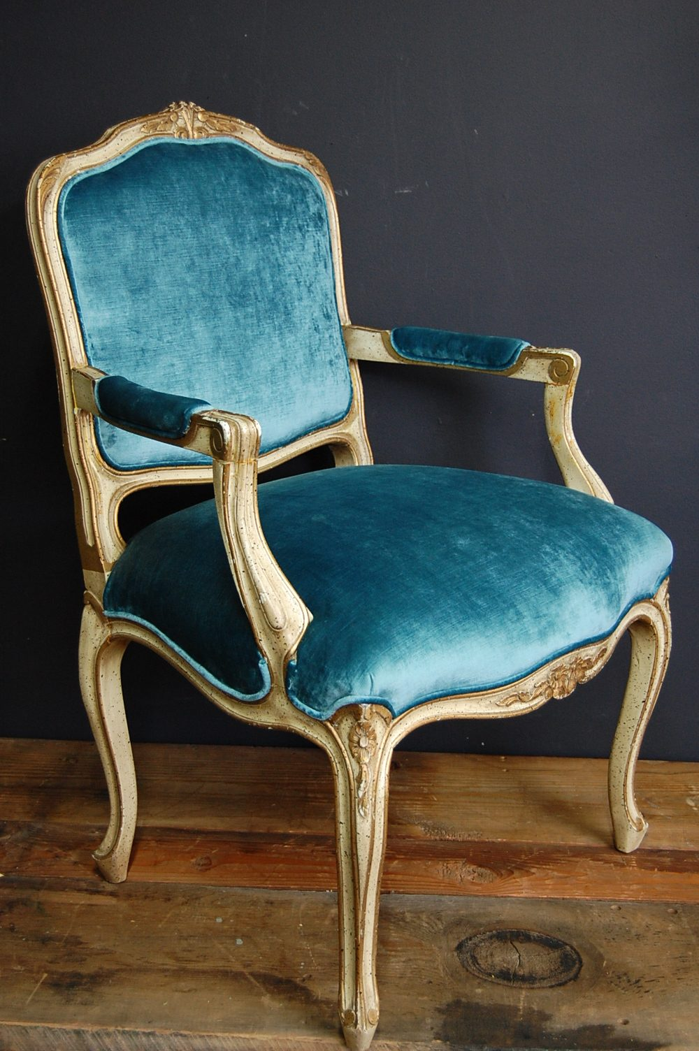 Vintage Peacock Velvet Louis Xv Fauteuil Chair The Savoy