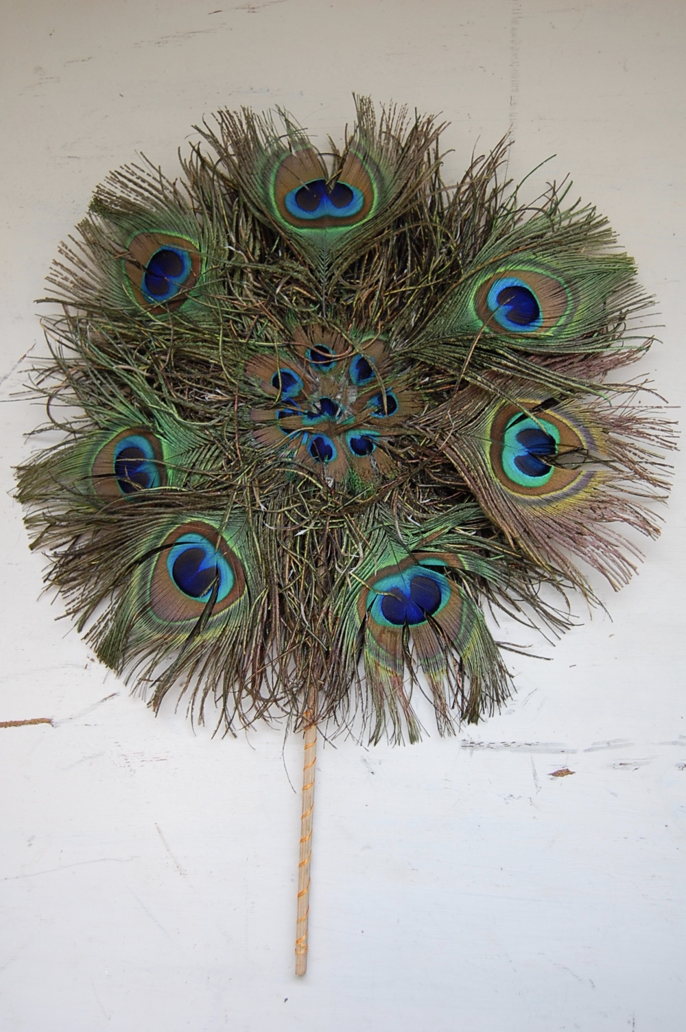 Antique Round Peacock Feather Fan The Savoy Flea
