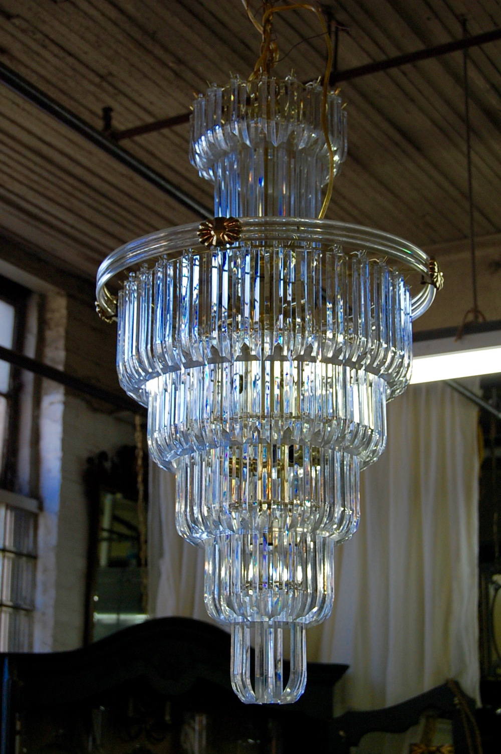 Large Vintage Lucite Seven Tier Chandelier The Savoy Flea