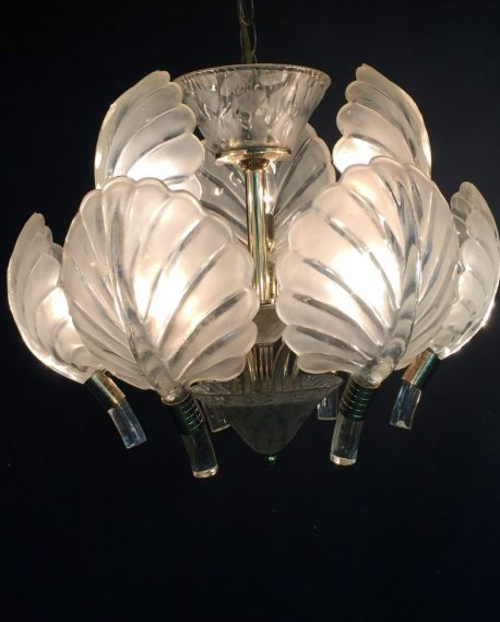 Frosted Glass Palm Leaf Chandelier The Savoy Flea