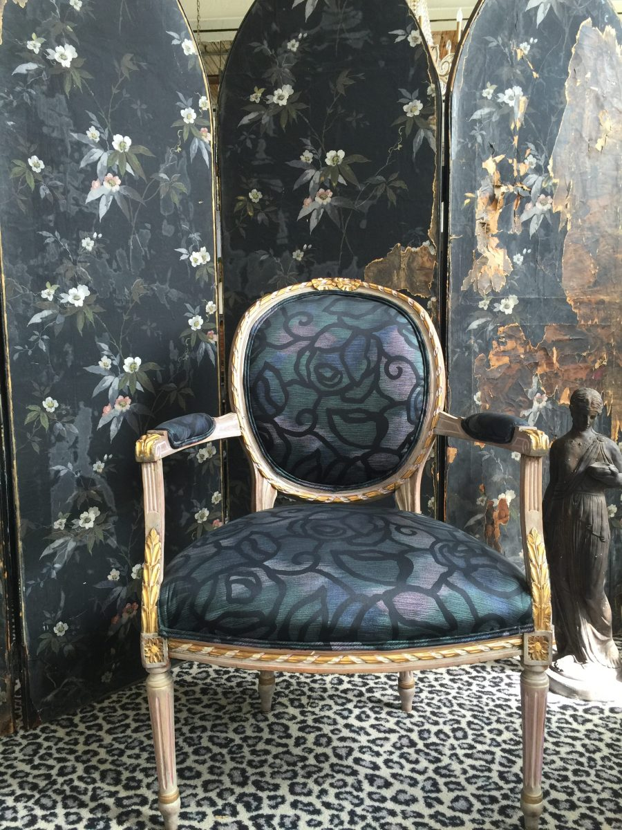 1920 S Antique French Moody Fauteuil Ballon Back Chair