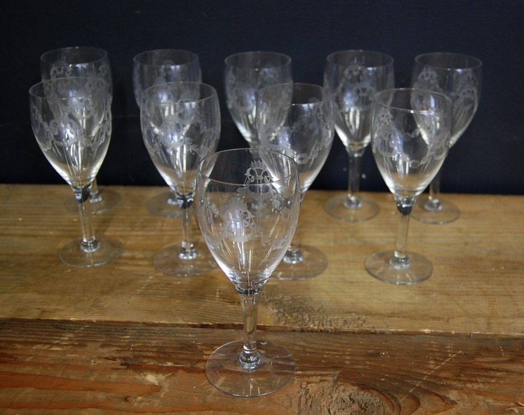 Antique Etched Lyre Wine Glasses Set Of 10 The Savoy Flea