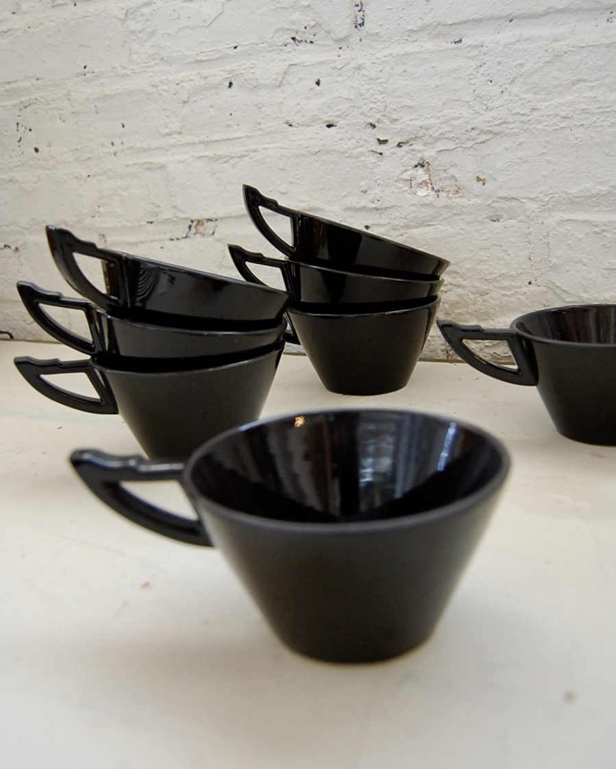 Rare Black Memphis Art Deco Teacups Mugs By Salins Studios