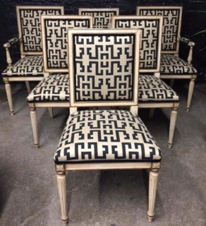 Awesome 1930S Geo Print Directoire Dining Chairs Set Of 6 The Pabps2019 Chair Design Images Pabps2019Com