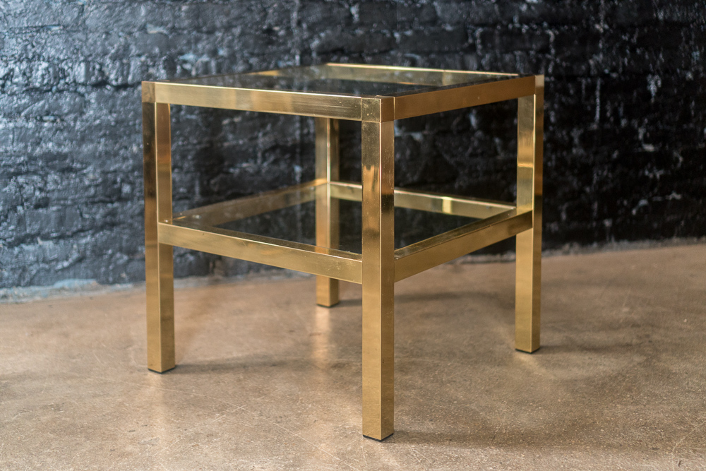 Modern Classic Mastercraft Two Tiered Brass Side Table