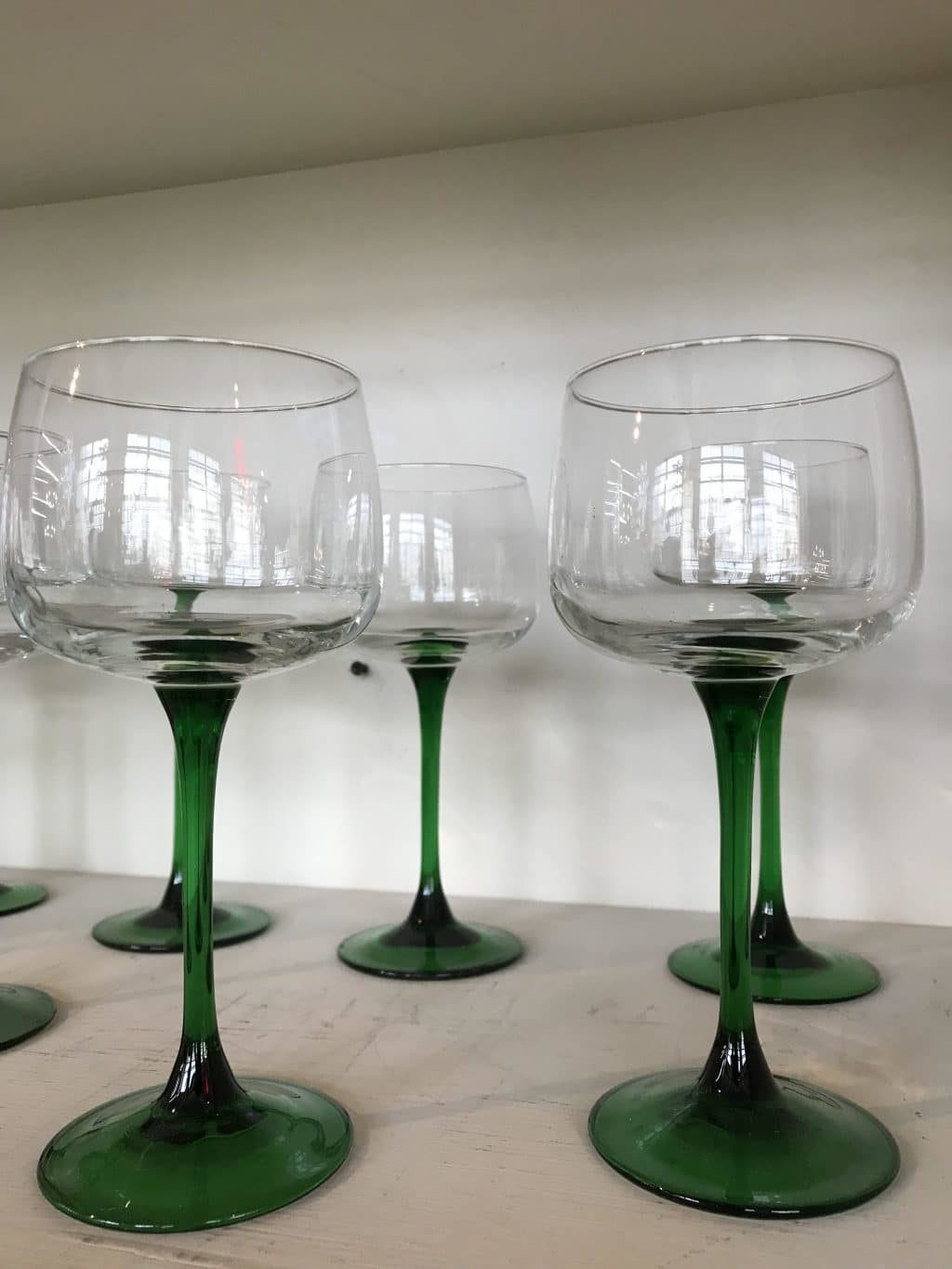 French Emerald Stem Wine Glasses Set Of Ten The Savoy Flea