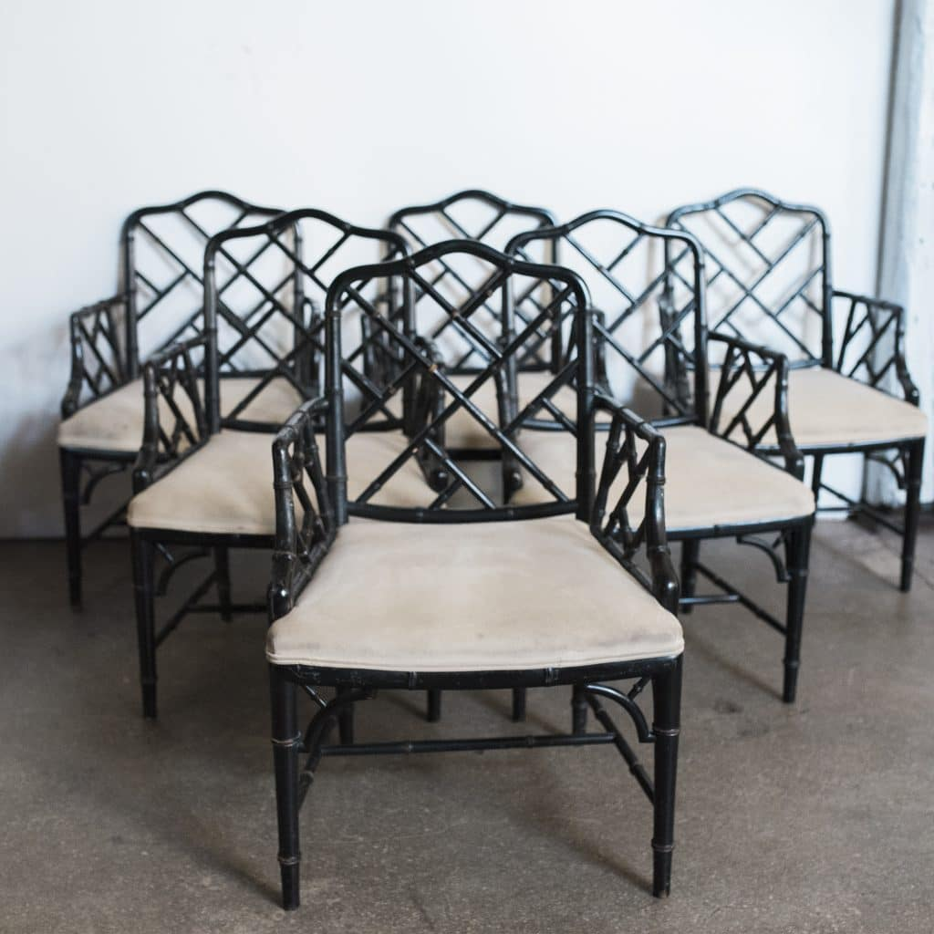 Black Chinese Chippendale Faux Bamboo Chairs U2013 Set Of Six