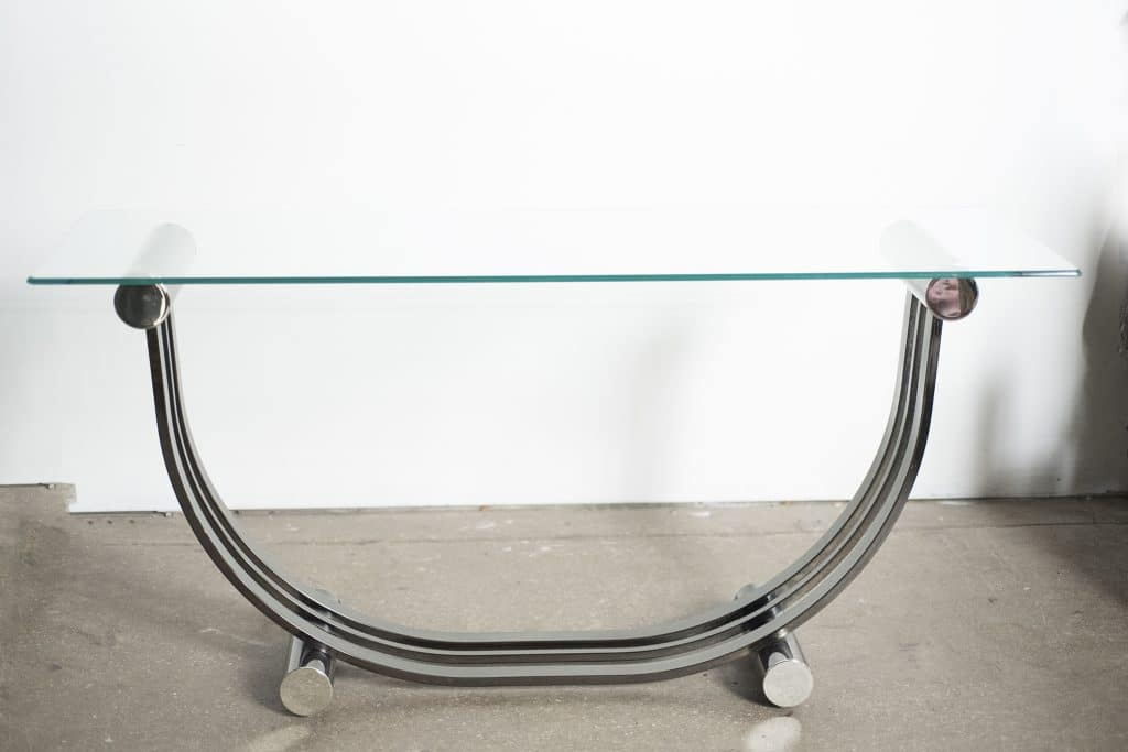 Art deco romeo rega style chrome console table the savoy for 52 glass table top