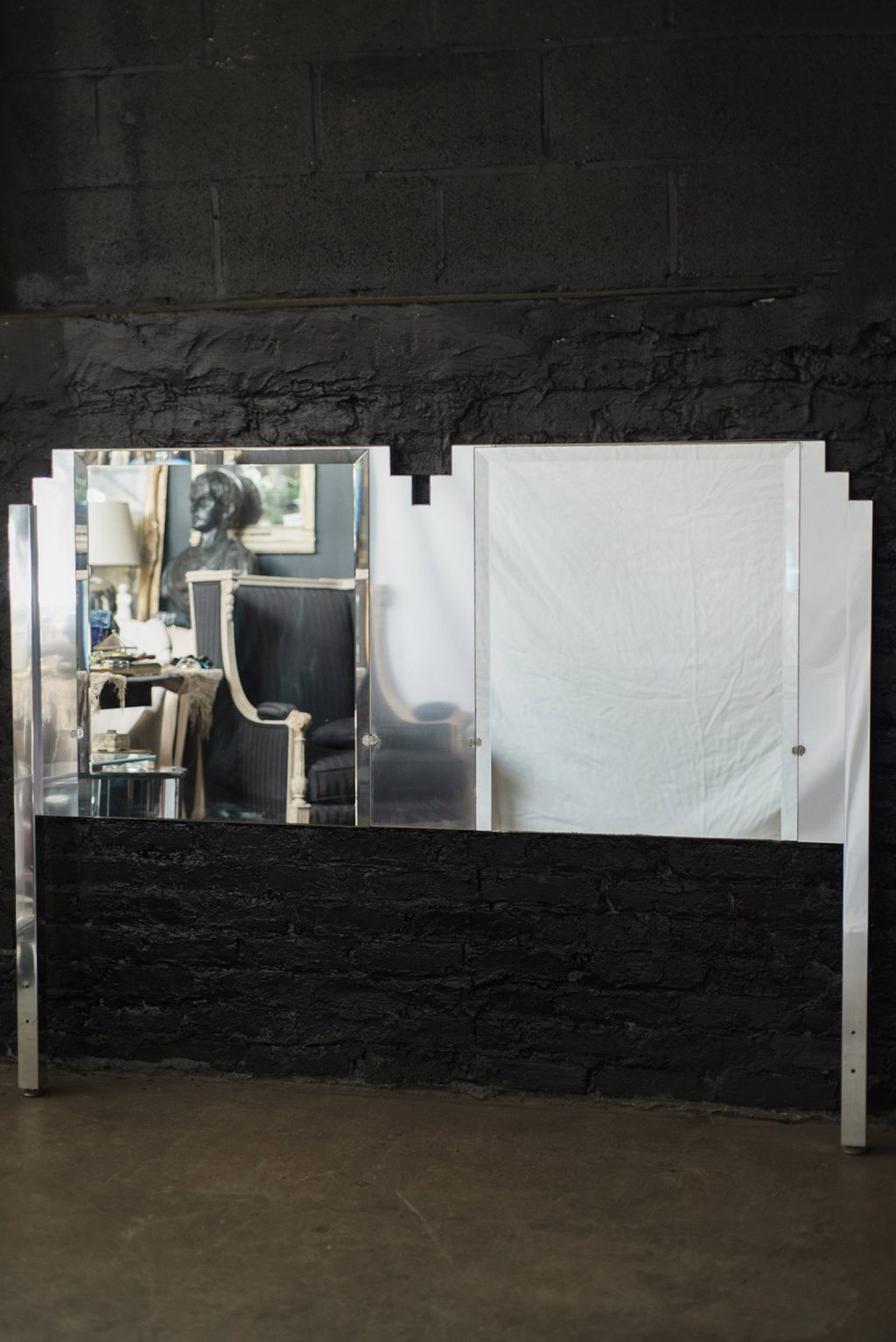 Art Deco Style Mirrored Queen Size Headboard By Ello The
