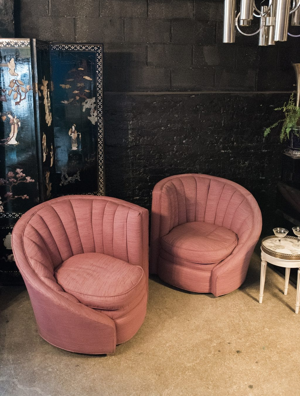 raspberry tufted swivel chairs by century furniture pair the