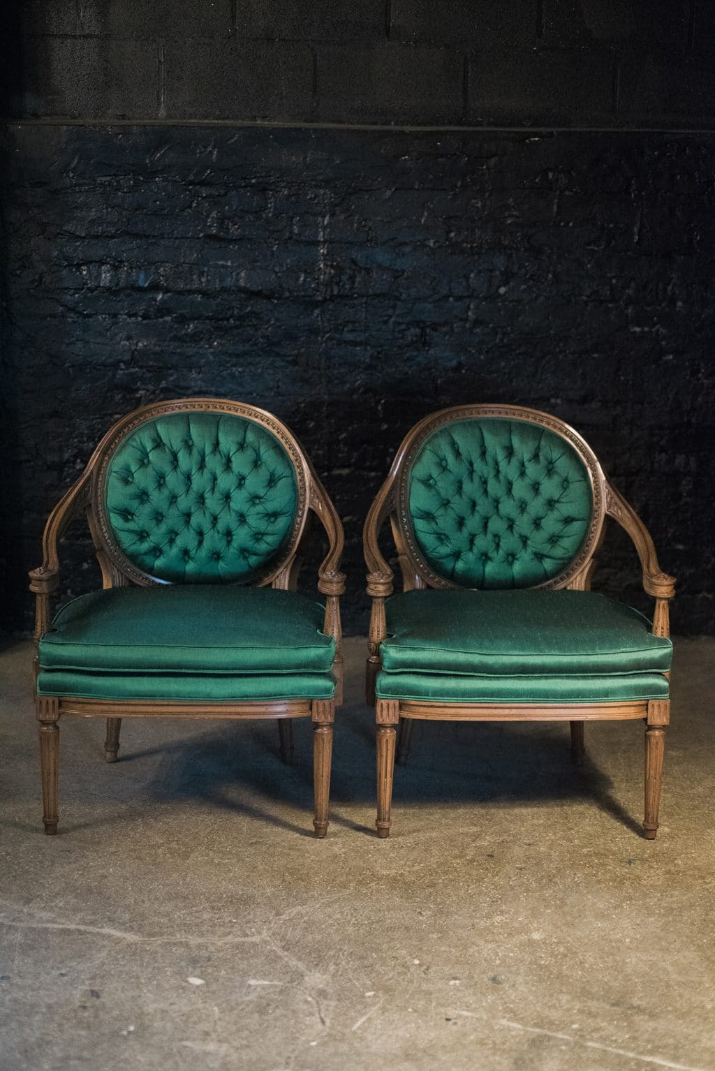 French Tufted Emerald Green Louis Xvi Chairs Pair The