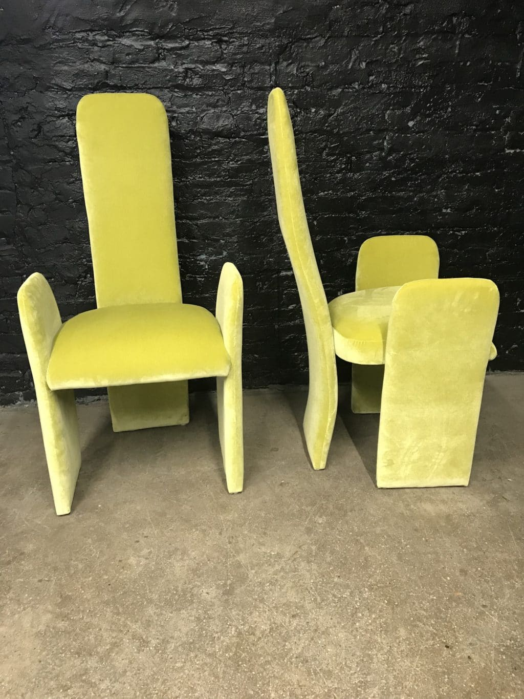 Pair Of Sculptural Chartreuse Memphis Style Chairs The